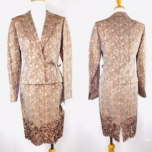 NWT Kay Unger New York Vntg Skirt Suit embroidered